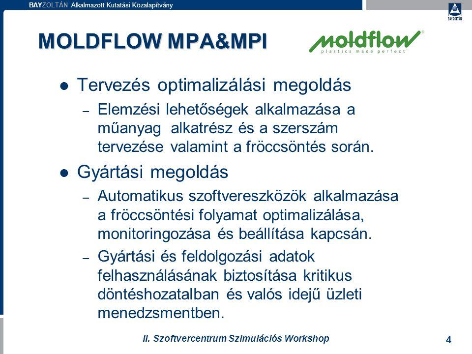 BAYZOLTÁN Alkalmazott Kutatási Közalapítvány 4 II. Szoftvercentrum Szimulációs Workshop MOLDFLOW MPA&MPI Tervezés optimalizálási megoldás – Elemzési l