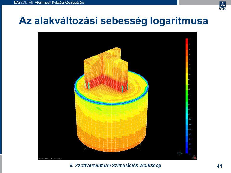 BAYZOLTÁN Alkalmazott Kutatási Közalapítvány 41 II. Szoftvercentrum Szimulációs Workshop Az alakváltozási sebesség logaritmusa