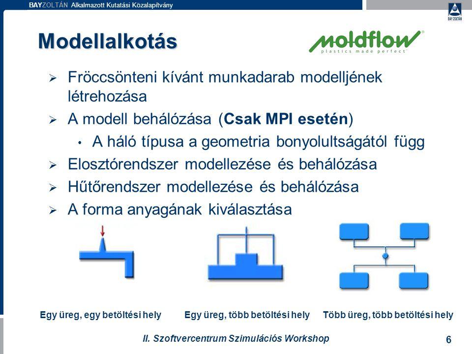 BAYZOLTÁN Alkalmazott Kutatási Közalapítvány 6 II. Szoftvercentrum Szimulációs Workshop Modellalkotás  Fröccsönteni kívánt munkadarab modelljének lét