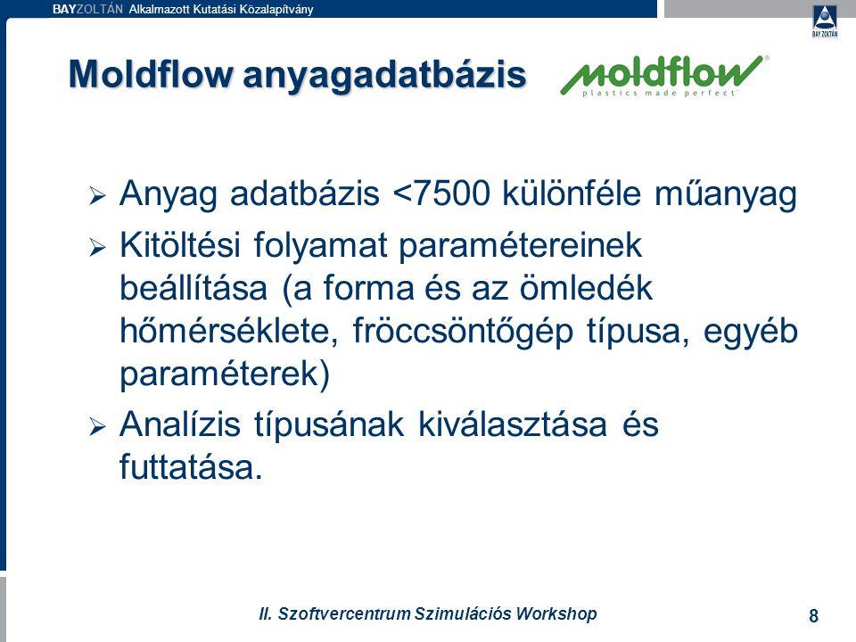 BAYZOLTÁN Alkalmazott Kutatási Közalapítvány 8 II. Szoftvercentrum Szimulációs Workshop Moldflow anyagadatbázis  Anyag adatbázis <7500 különféle műan