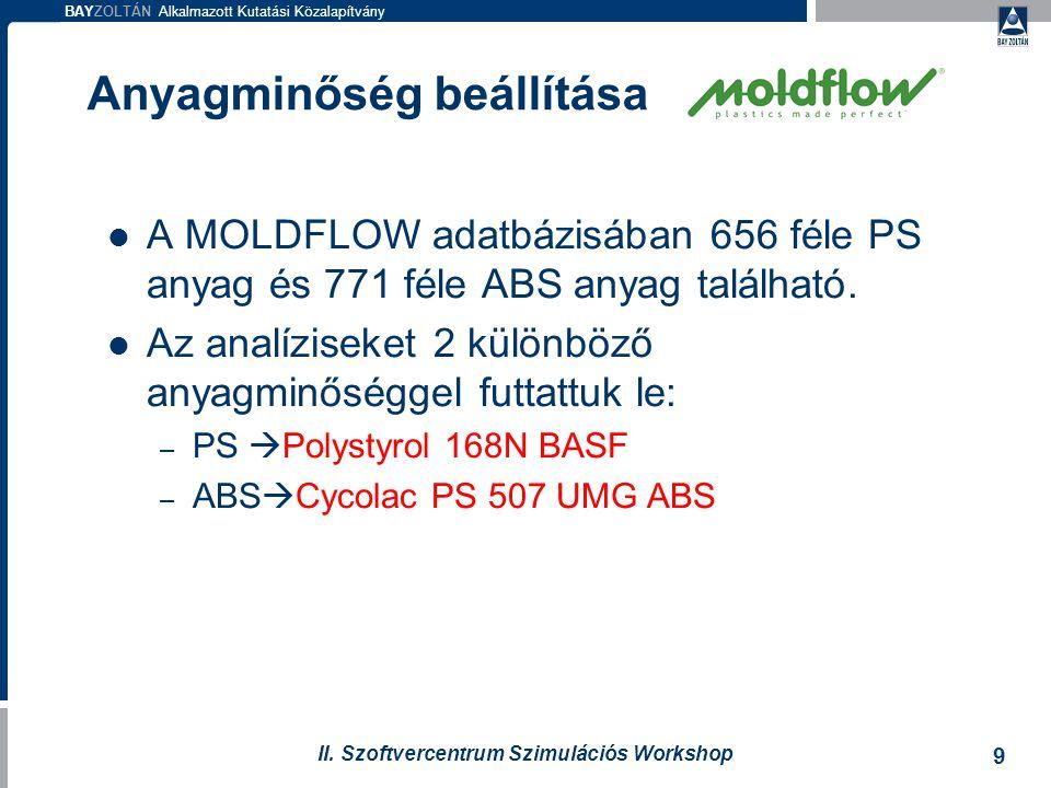 BAYZOLTÁN Alkalmazott Kutatási Közalapítvány 9 II. Szoftvercentrum Szimulációs Workshop Anyagminőség beállítása A MOLDFLOW adatbázisában 656 féle PS a