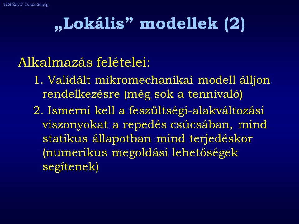 """TRAMPUS Consultancy """"Lokális modellek (2) Alkalmazás felételei: 1."""