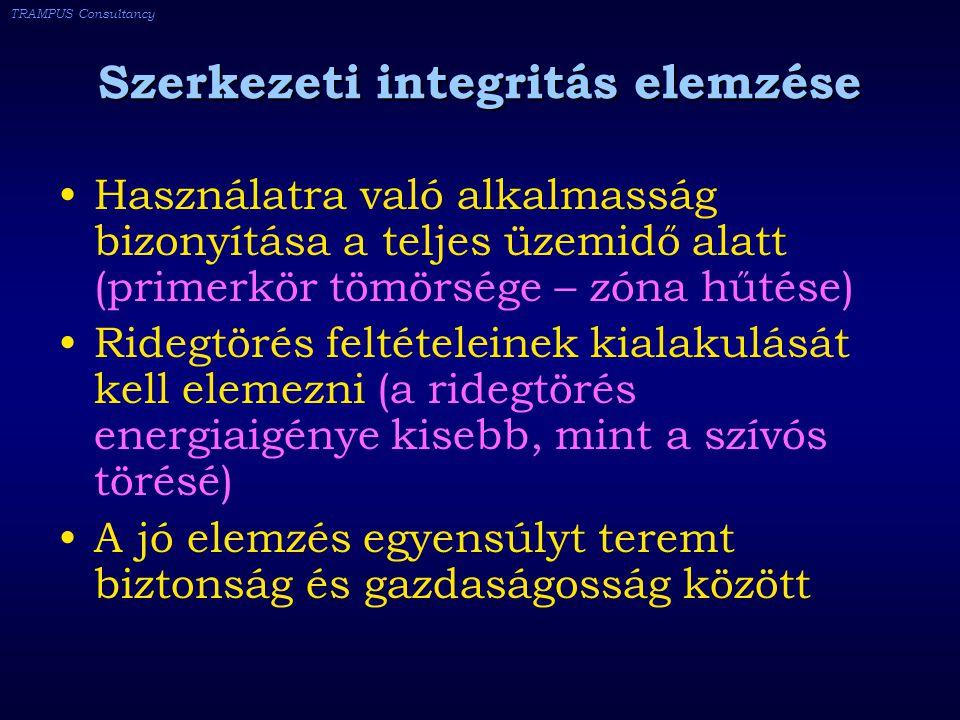 TRAMPUS Consultancy Szerkezeti integritás elemzése Használatra való alkalmasság bizonyítása a teljes üzemidő alatt (primerkör tömörsége – zóna hűtése) Ridegtörés feltételeinek kialakulását kell elemezni (a ridegtörés energiaigénye kisebb, mint a szívós törésé) A jó elemzés egyensúlyt teremt biztonság és gazdaságosság között