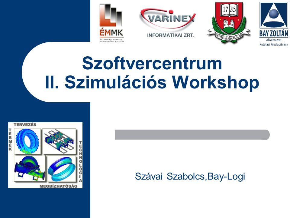Szoftvercentrum II. Szimulációs Workshop Szávai Szabolcs,Bay-Logi