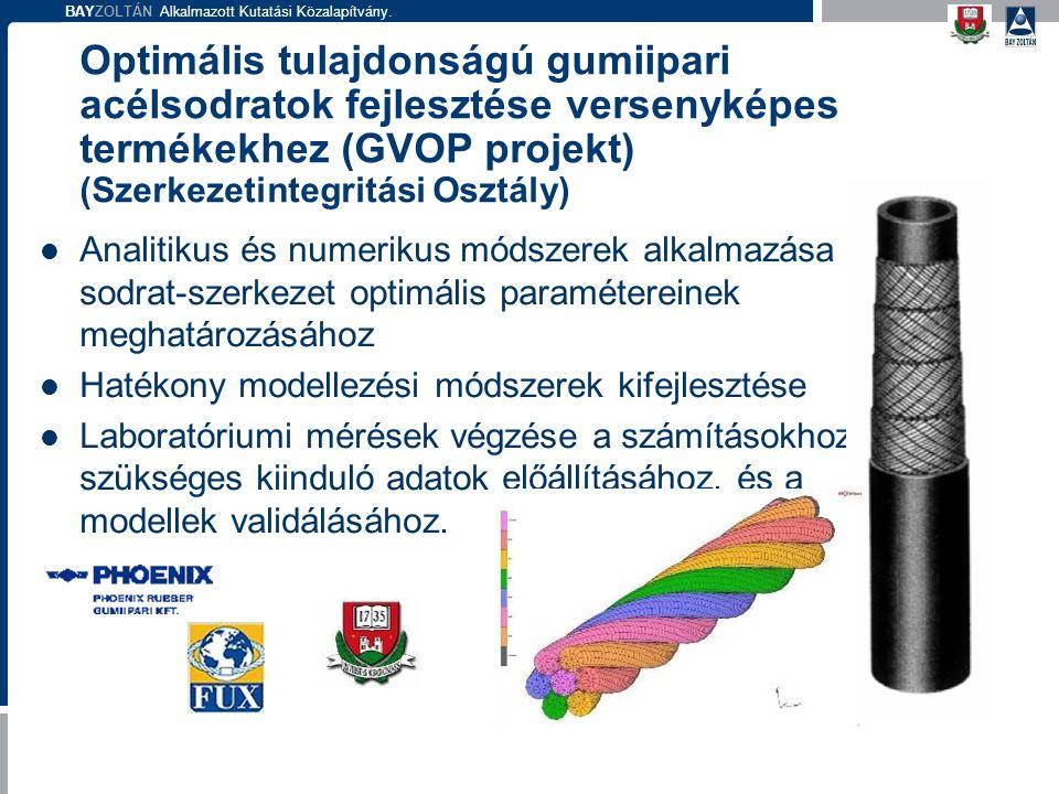 BAYZOLTÁN Alkalmazott Kutatási Közalapítvány. Optimális tulajdonságú gumiipari acélsodratok fejlesztése versenyképes termékekhez (GVOP projekt) (Szerk