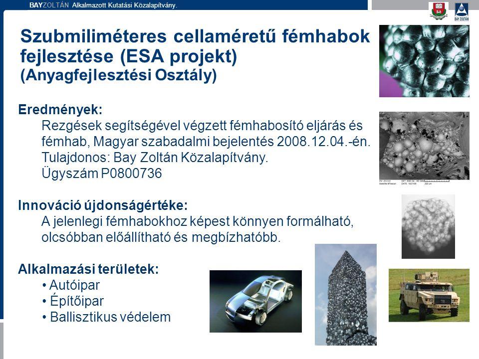 BAYZOLTÁN Alkalmazott Kutatási Közalapítvány. Szubmiliméteres cellaméretű fémhabok fejlesztése (ESA projekt) (Anyagfejlesztési Osztály) Eredmények: Re