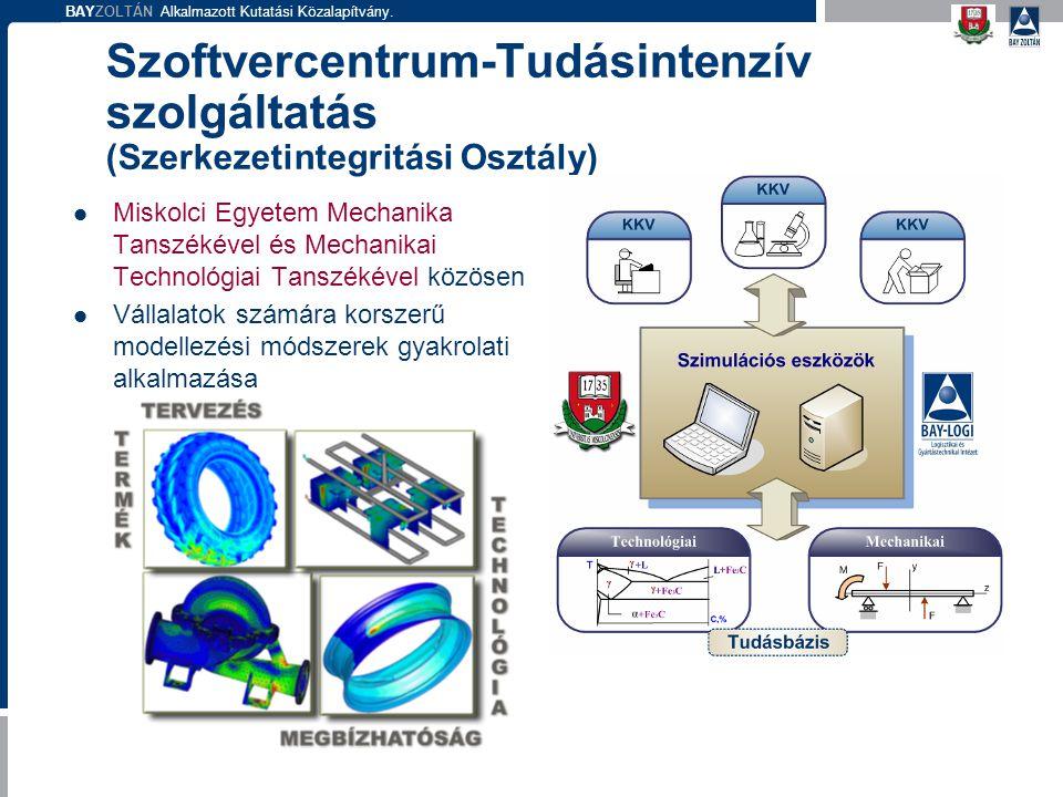 BAYZOLTÁN Alkalmazott Kutatási Közalapítvány. Szoftvercentrum-Tudásintenzív szolgáltatás (Szerkezetintegritási Osztály) Miskolci Egyetem Mechanika Tan
