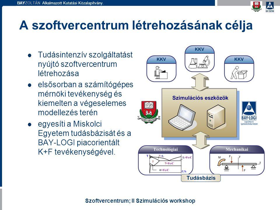 BAYZOLTÁN Alkalmazott Kutatási Közalapítvány. Szoftvercentrum; II Szimulációs workshop A szoftvercentrum létrehozásának célja Tudásintenzív szolgáltat