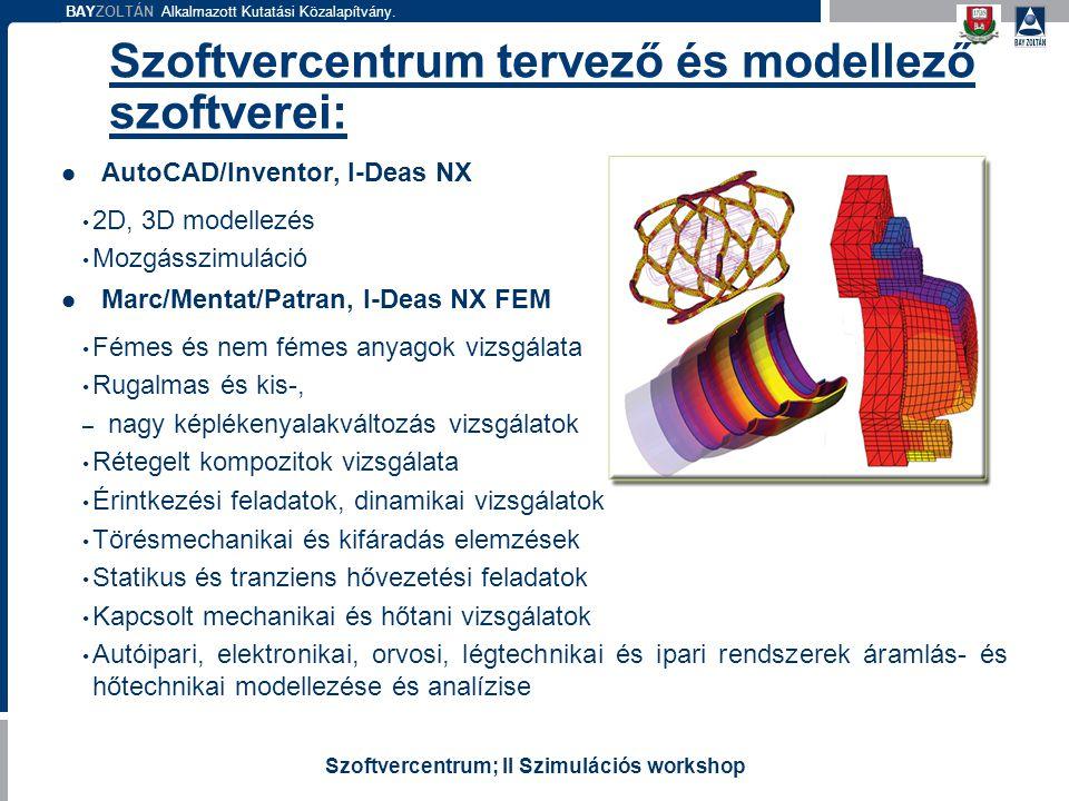 BAYZOLTÁN Alkalmazott Kutatási Közalapítvány. Szoftvercentrum; II Szimulációs workshop Szoftvercentrum tervező és modellező szoftverei: AutoCAD/Invent