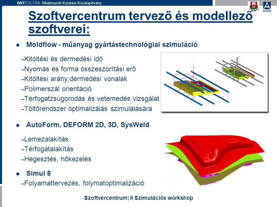 BAYZOLTÁN Alkalmazott Kutatási Közalapítvány. Szoftvercentrum; II Szimulációs workshop Szoftvercentrum tervező és modellező szoftverei: Moldflow - műa