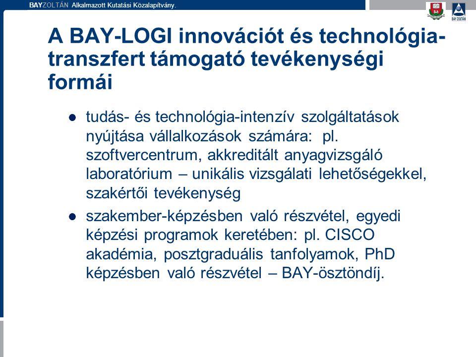 BAYZOLTÁN Alkalmazott Kutatási Közalapítvány. A BAY-LOGI innovációt és technológia- transzfert támogató tevékenységi formái tudás- és technológia-inte