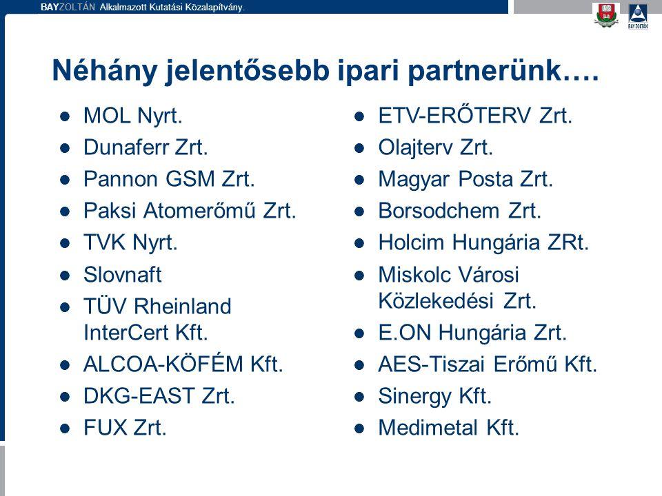 BAYZOLTÁN Alkalmazott Kutatási Közalapítvány. Néhány jelentősebb ipari partnerünk…. MOL Nyrt. Dunaferr Zrt. Pannon GSM Zrt. Paksi Atomerőmű Zrt. TVK N