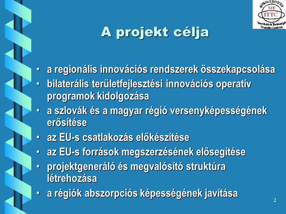 2 A projekt célja a regionális innovációs rendszerek összekapcsolása a regionális innovációs rendszerek összekapcsolása bilaterális területfejlesztési innovációs operatív programok kidolgozása bilaterális területfejlesztési innovációs operatív programok kidolgozása a szlovák és a magyar régió versenyképességének erősítése a szlovák és a magyar régió versenyképességének erősítése az EU-s csatlakozás előkészítése az EU-s csatlakozás előkészítése az EU-s források megszerzésének elősegítése az EU-s források megszerzésének elősegítése projektgeneráló és megvalósító struktúra létrehozása projektgeneráló és megvalósító struktúra létrehozása a régiók abszorpciós képességének javítása a régiók abszorpciós képességének javítása
