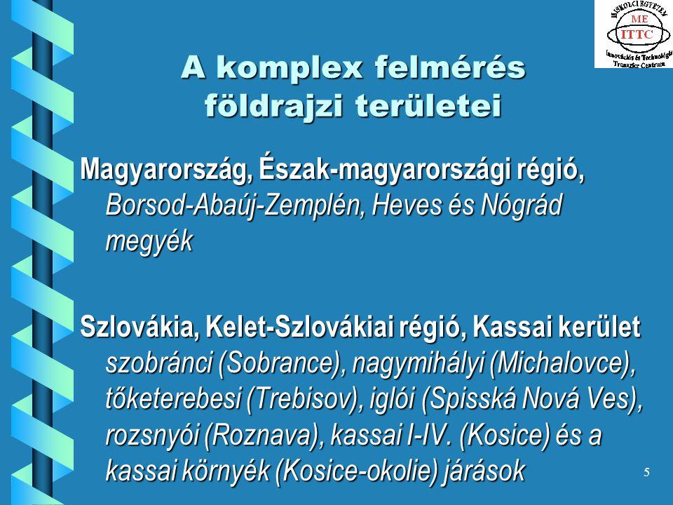 5 A komplex felmérés földrajzi területei Magyarország, Észak-magyarországi régió, Borsod-Abaúj-Zemplén, Heves és Nógrád megyék Szlovákia, Kelet-Szlovákiai régió, Kassai kerület szobránci (Sobrance), nagymihályi (Michalovce), tőketerebesi (Trebisov), iglói (Spisská Nová Ves), rozsnyói (Roznava), kassai I-IV.