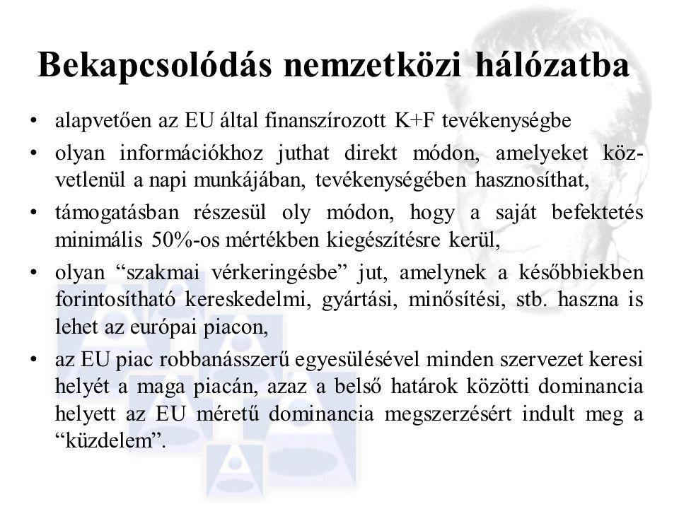 Bekapcsolódás nemzetközi hálózatba alapvetően az EU által finanszírozott K+F tevékenységbe olyan információkhoz juthat direkt módon, amelyeket köz- vetlenül a napi munkájában, tevékenységében hasznosíthat, támogatásban részesül oly módon, hogy a saját befektetés minimális 50%-os mértékben kiegészítésre kerül, olyan szakmai vérkeringésbe jut, amelynek a későbbiekben forintosítható kereskedelmi, gyártási, minősítési, stb.