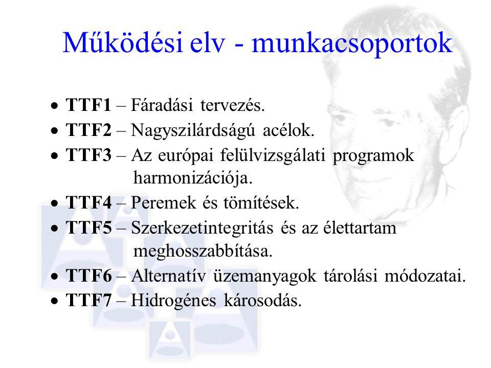 Működési elv - munkacsoportok  TTF1 – Fáradási tervezés.