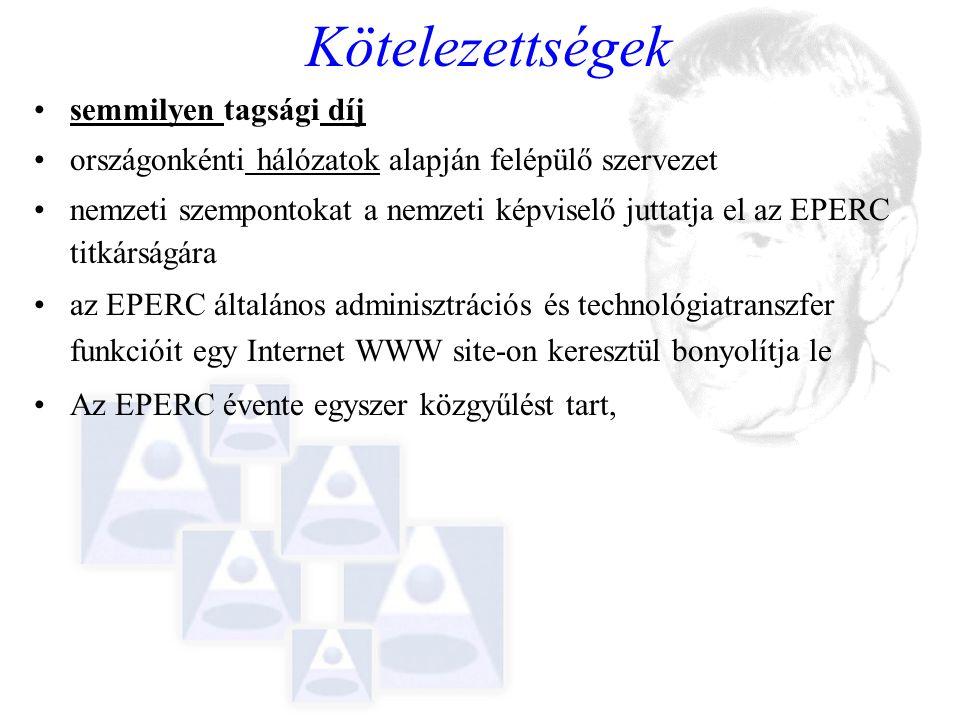 Kötelezettségek semmilyen tagsági díj országonkénti hálózatok alapján felépülő szervezet nemzeti szempontokat a nemzeti képviselő juttatja el az EPERC titkárságára az EPERC általános adminisztrációs és technológiatranszfer funkcióit egy Internet WWW site-on keresztül bonyolítja le Az EPERC évente egyszer közgyűlést tart,