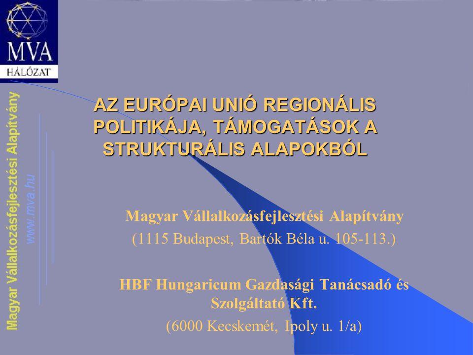 AZ EURÓPAI UNIÓ REGIONÁLIS POLITIKÁJA, TÁMOGATÁSOK A STRUKTURÁLIS ALAPOKBÓL Magyar Vállalkozásfejlesztési Alapítvány (1115 Budapest, Bartók Béla u. 10