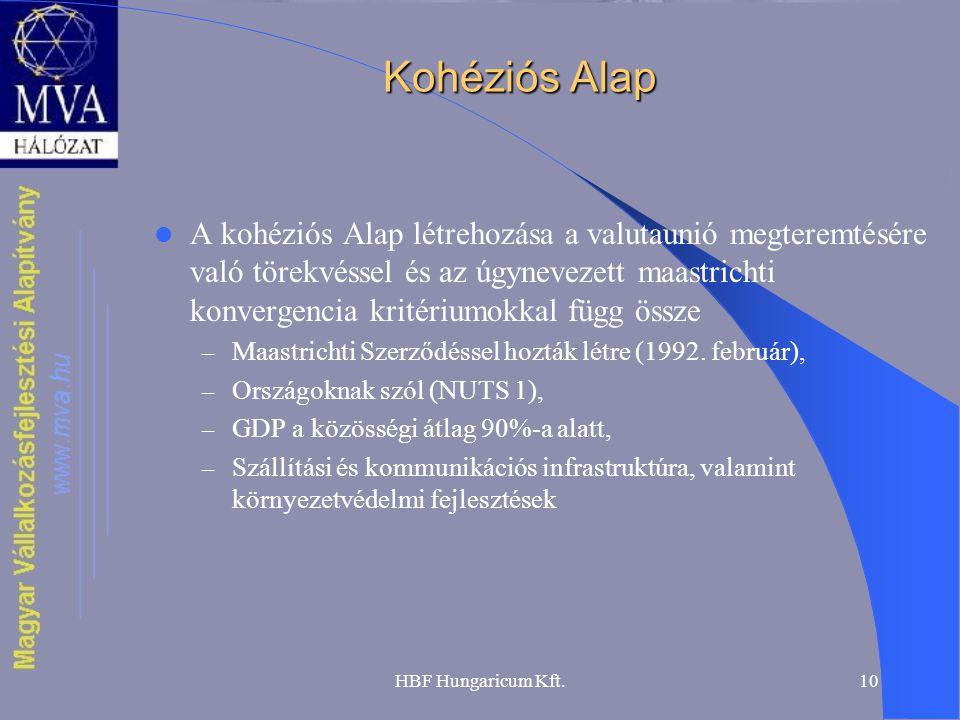 HBF Hungaricum Kft.10 Kohéziós Alap A kohéziós Alap létrehozása a valutaunió megteremtésére való törekvéssel és az úgynevezett maastrichti konvergenci