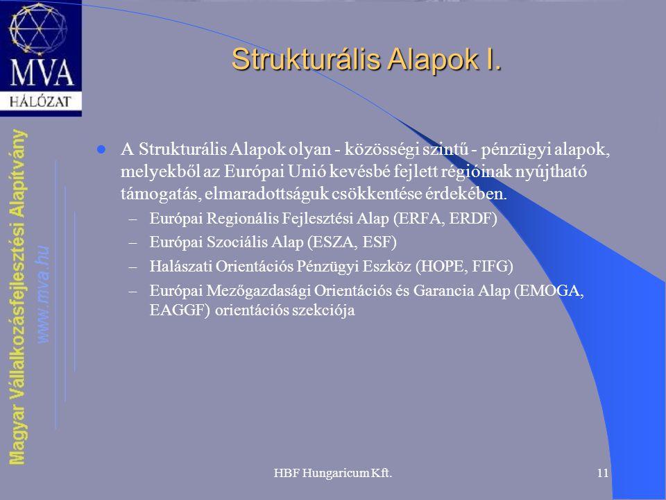 HBF Hungaricum Kft.11 Strukturális Alapok I. A Strukturális Alapok olyan - közösségi szintű - pénzügyi alapok, melyekből az Európai Unió kevésbé fejle