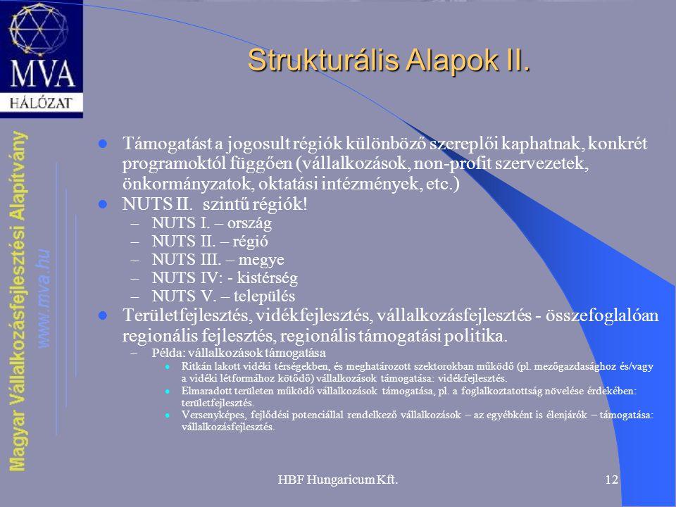 HBF Hungaricum Kft.12 Strukturális Alapok II. Támogatást a jogosult régiók különböző szereplői kaphatnak, konkrét programoktól függően (vállalkozások,