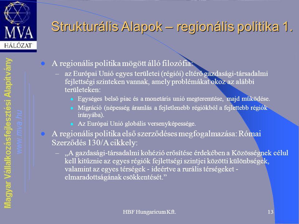HBF Hungaricum Kft.13 Strukturális Alapok – regionális politika 1. A regionális politika mögött álló filozófia: – az Európai Unió egyes területei (rég