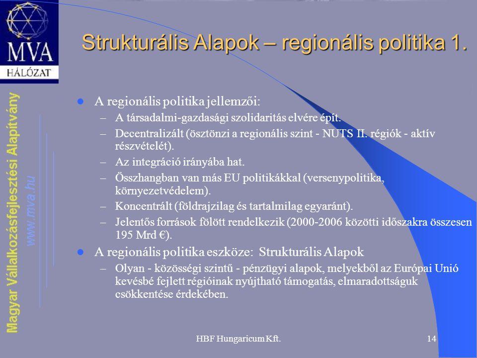 HBF Hungaricum Kft.14 Strukturális Alapok – regionális politika 1. A regionális politika jellemzői: – A társadalmi-gazdasági szolidaritás elvére épít.