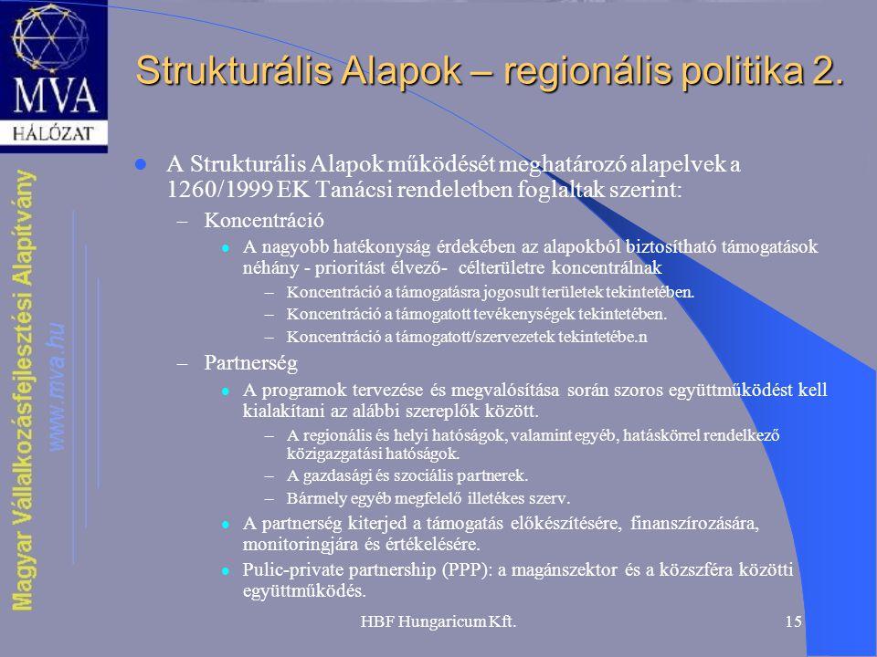 HBF Hungaricum Kft.15 Strukturális Alapok – regionális politika 2. A Strukturális Alapok működését meghatározó alapelvek a 1260/1999 EK Tanácsi rendel