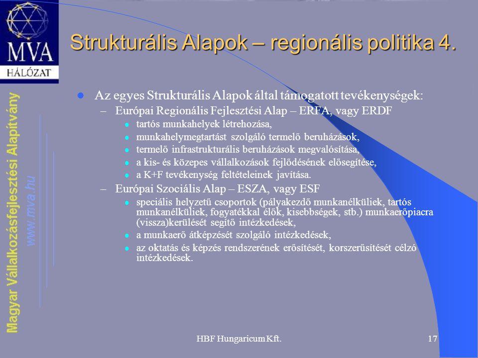 HBF Hungaricum Kft.17 Strukturális Alapok – regionális politika 4. Az egyes Strukturális Alapok által támogatott tevékenységek: – Európai Regionális F