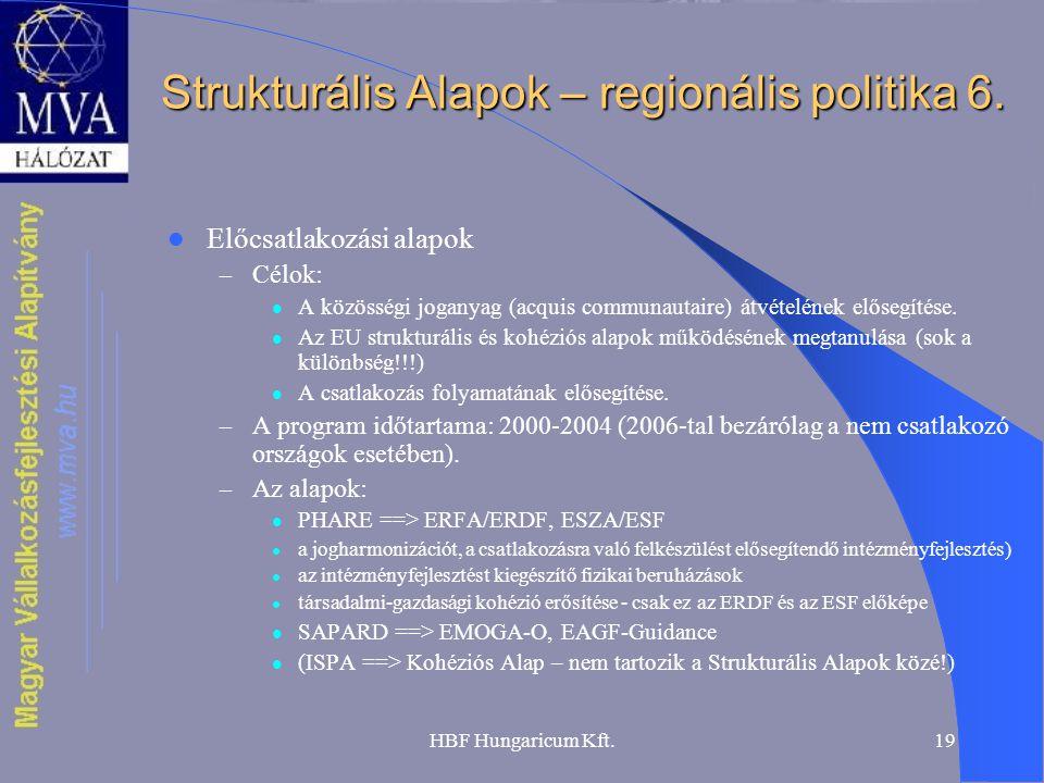 HBF Hungaricum Kft.19 Strukturális Alapok – regionális politika 6. Előcsatlakozási alapok – Célok: A közösségi joganyag (acquis communautaire) átvétel