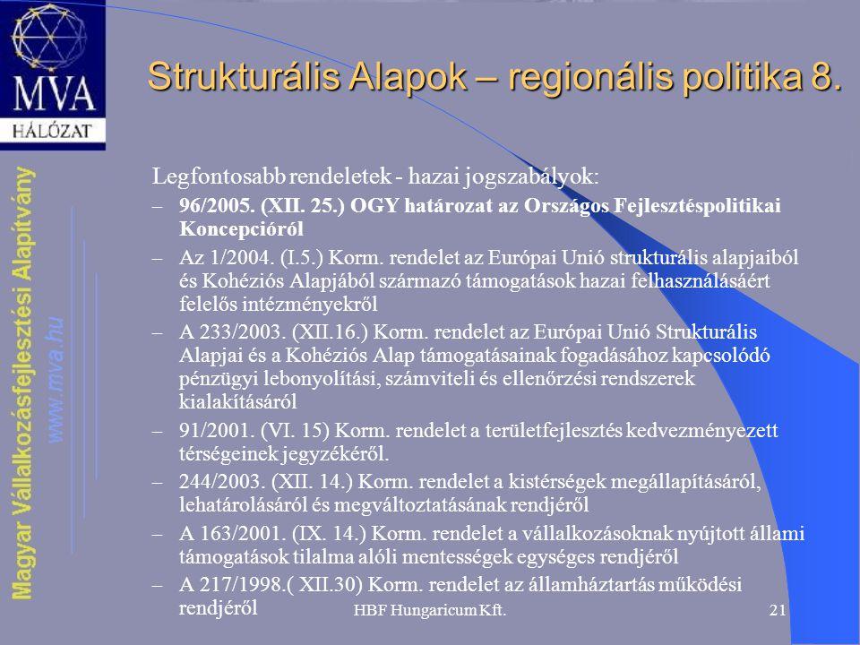 HBF Hungaricum Kft.21 Strukturális Alapok – regionális politika 8. Legfontosabb rendeletek - hazai jogszabályok: – 96/2005. (XII. 25.) OGY határozat a