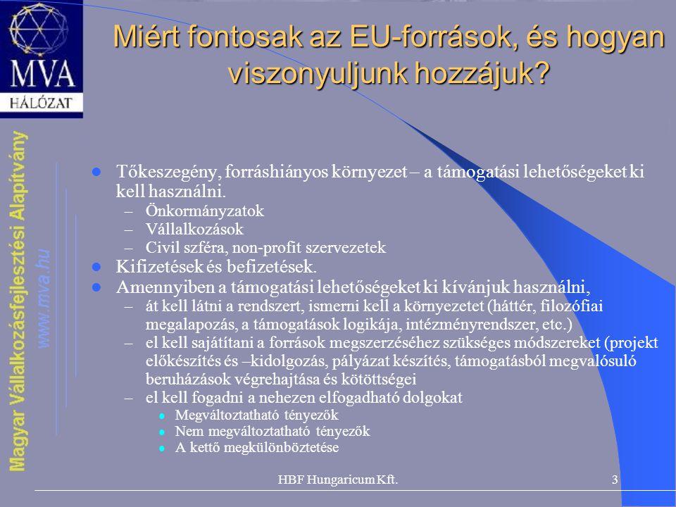 HBF Hungaricum Kft.3 Miért fontosak az EU-források, és hogyan viszonyuljunk hozzájuk? Tőkeszegény, forráshiányos környezet – a támogatási lehetőségeke
