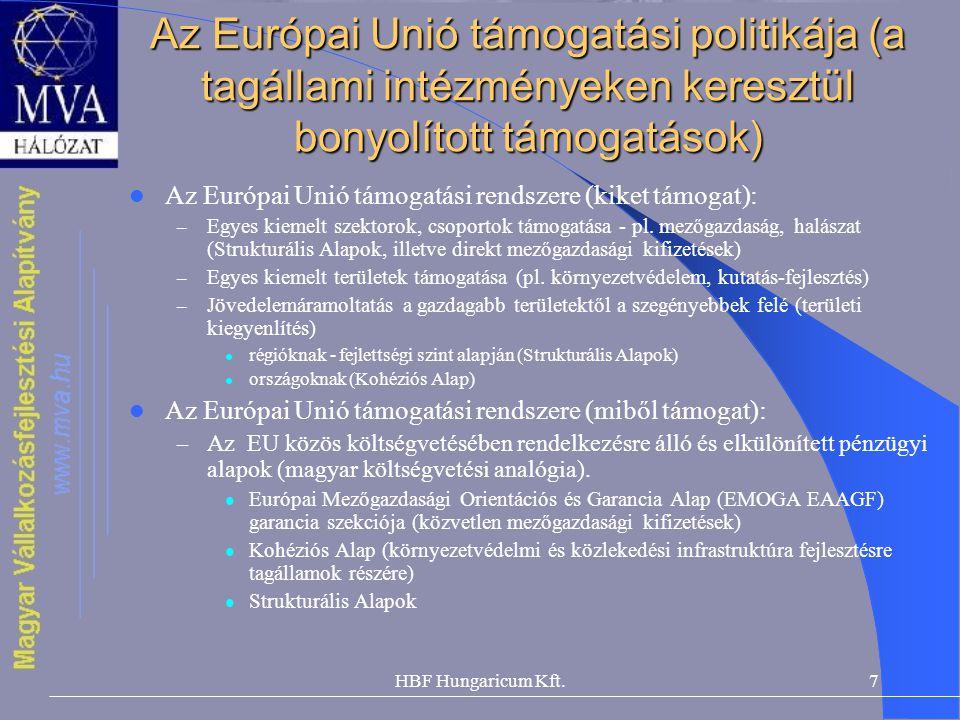 HBF Hungaricum Kft.7 Az Európai Unió támogatási politikája (a tagállami intézményeken keresztül bonyolított támogatások) Az Európai Unió támogatási re