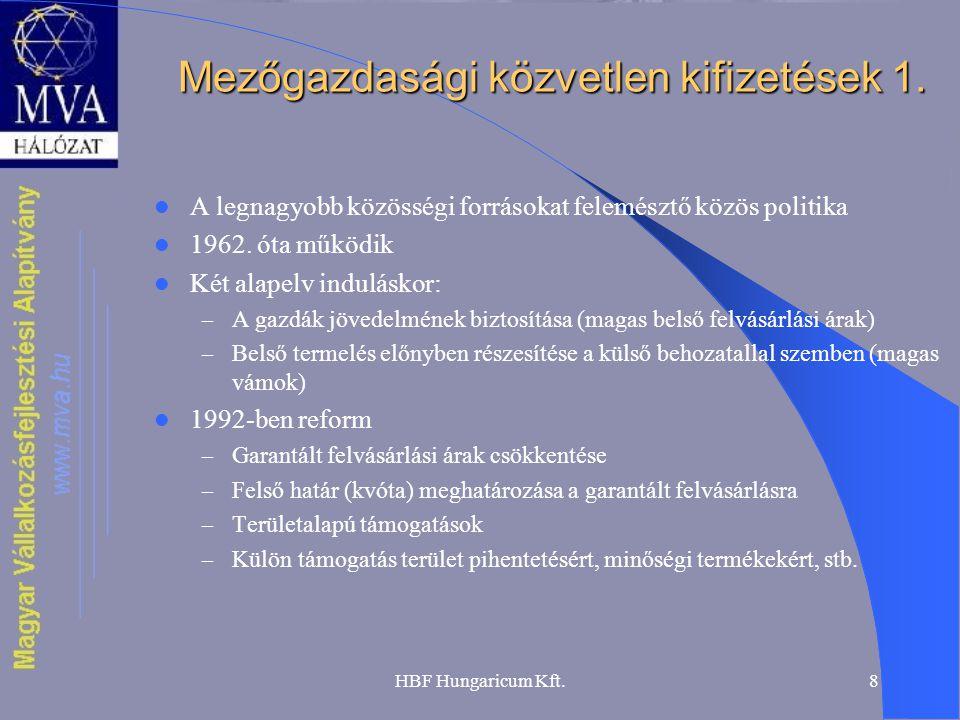 HBF Hungaricum Kft.8 Mezőgazdasági közvetlen kifizetések 1. A legnagyobb közösségi forrásokat felemésztő közös politika 1962. óta működik Két alapelv