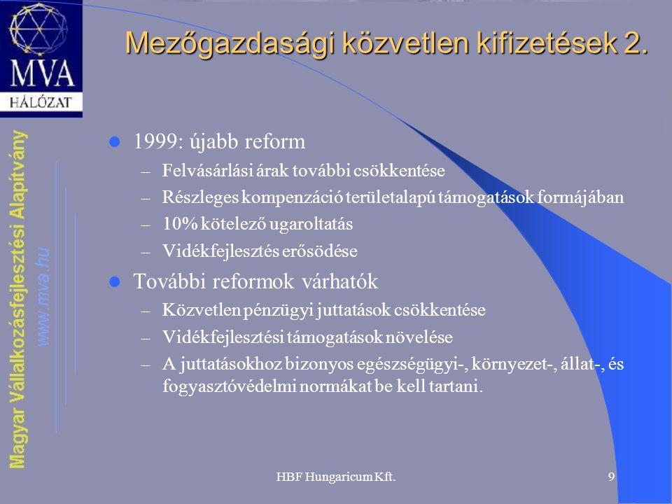 HBF Hungaricum Kft.9 Mezőgazdasági közvetlen kifizetések 2. 1999: újabb reform – Felvásárlási árak további csökkentése – Részleges kompenzáció terület