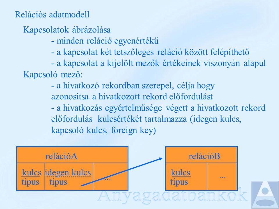 Relációs adatmodell Kapcsolatok ábrázolása - minden reláció egyenértékű - a kapcsolat két tetszőleges reláció között felépíthető - a kapcsolat a kijelölt mezők értékeinek viszonyán alapul Kapcsoló mező: - a hivatkozó rekordban szerepel, célja hogy azonosítsa a hivatkozott rekord előfordulást - a hivatkozás egyértelműsége végett a hivatkozott rekord előfordulás kulcsértékét tartalmazza (idegen kulcs, kapcsoló kulcs, foreign key) relációA kulcs típus relációB kulcs típus...