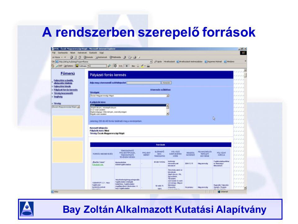 Bay Zoltán Alkalmazott Kutatási Alapítvány A rendszerben szerepelő források