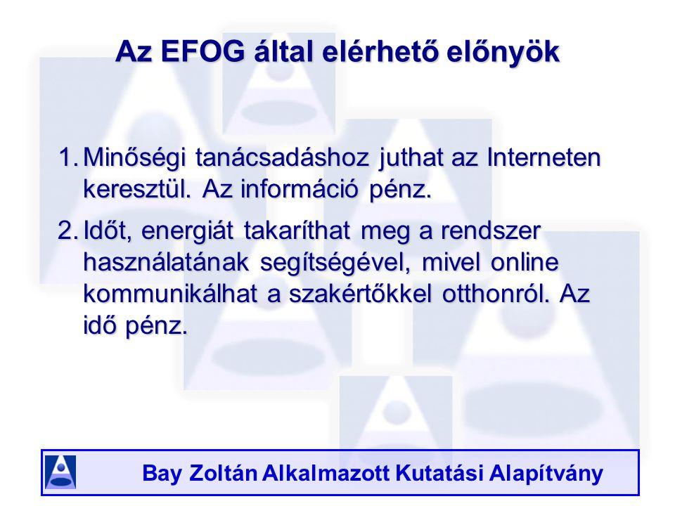 Bay Zoltán Alkalmazott Kutatási Alapítvány Az EFOG által elérhető előnyök 1.Minőségi tanácsadáshoz juthat az Interneten keresztül.