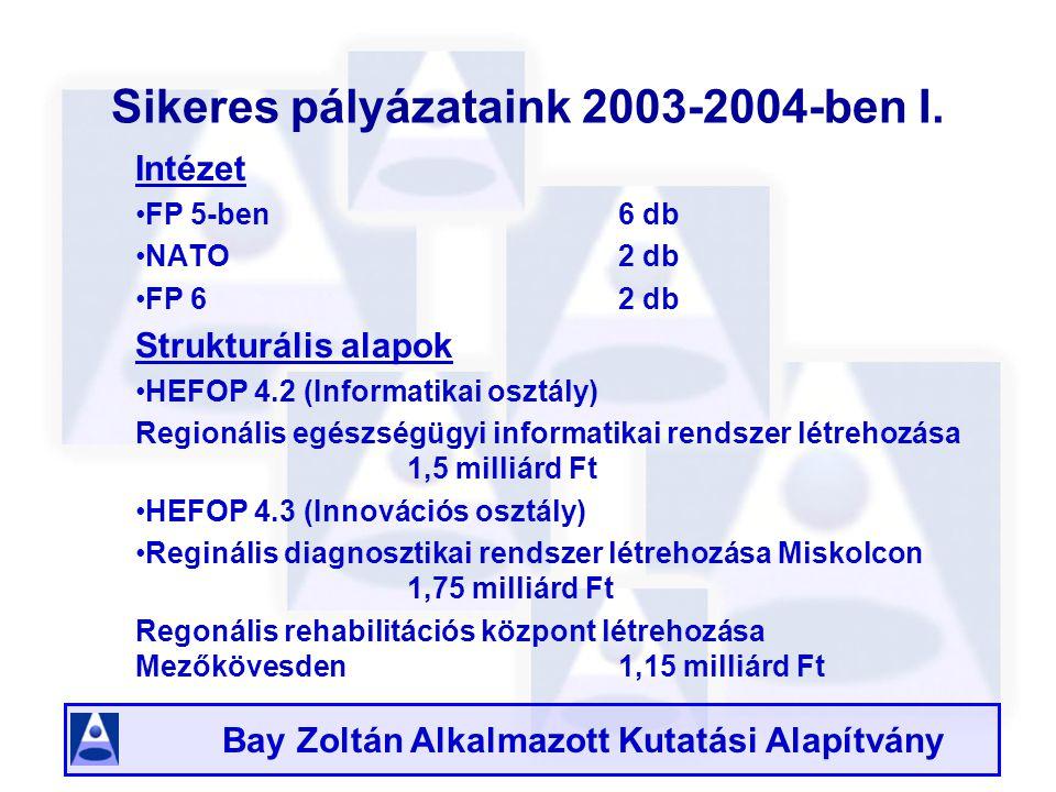 Bay Zoltán Alkalmazott Kutatási Alapítvány Sikeres pályázataink 2003-2004-ben I.