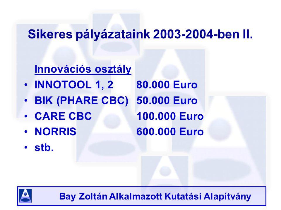 Bay Zoltán Alkalmazott Kutatási Alapítvány Sikeres pályázataink 2003-2004-ben II.