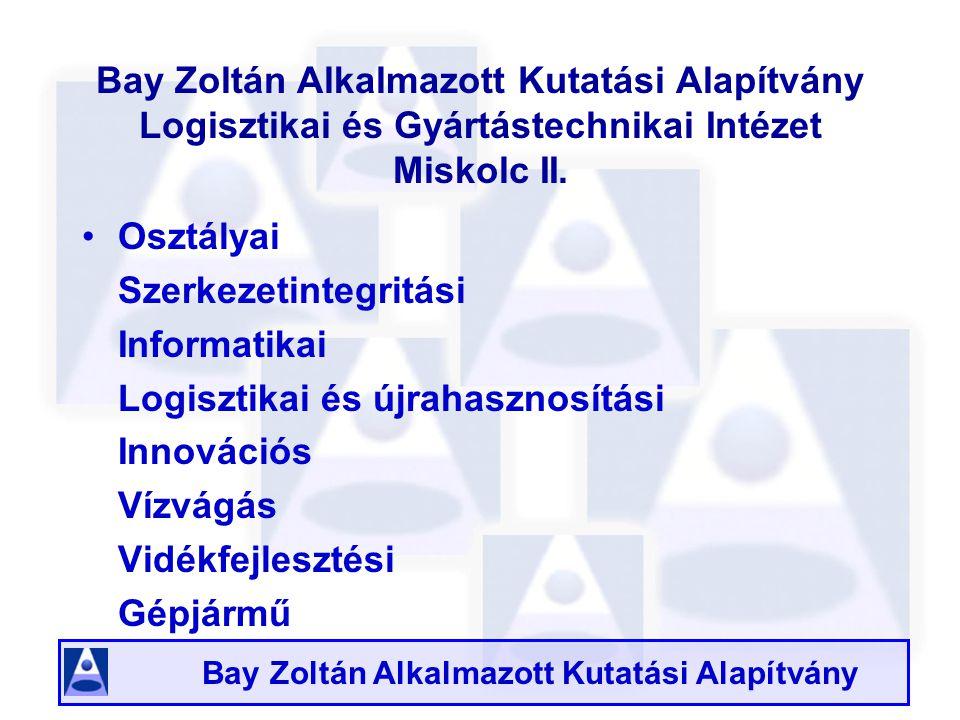 Bay Zoltán Alkalmazott Kutatási Alapítvány Bay Zoltán Alkalmazott Kutatási Alapítvány Logisztikai és Gyártástechnikai Intézet Miskolc II.