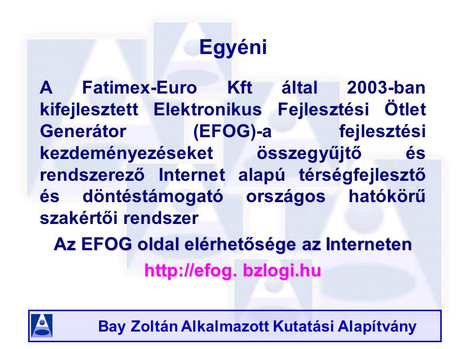 Bay Zoltán Alkalmazott Kutatási Alapítvány EFOG célja hogy minél több helyi projektfejlesztési igényt tárjon fel és a helyi igényeket pedig EU- konform, pályázható projekt tartalmakká fejlessze ki, s az így kifejlesztett projektek megvalósulását támogassa így az EFOG egy hatékony online támogató rendszer, mely a projektötletet csírájában felkarolja és a fejlesztés megvalósítását segíti a források megszerzésétől a projekt kivitelezéséig