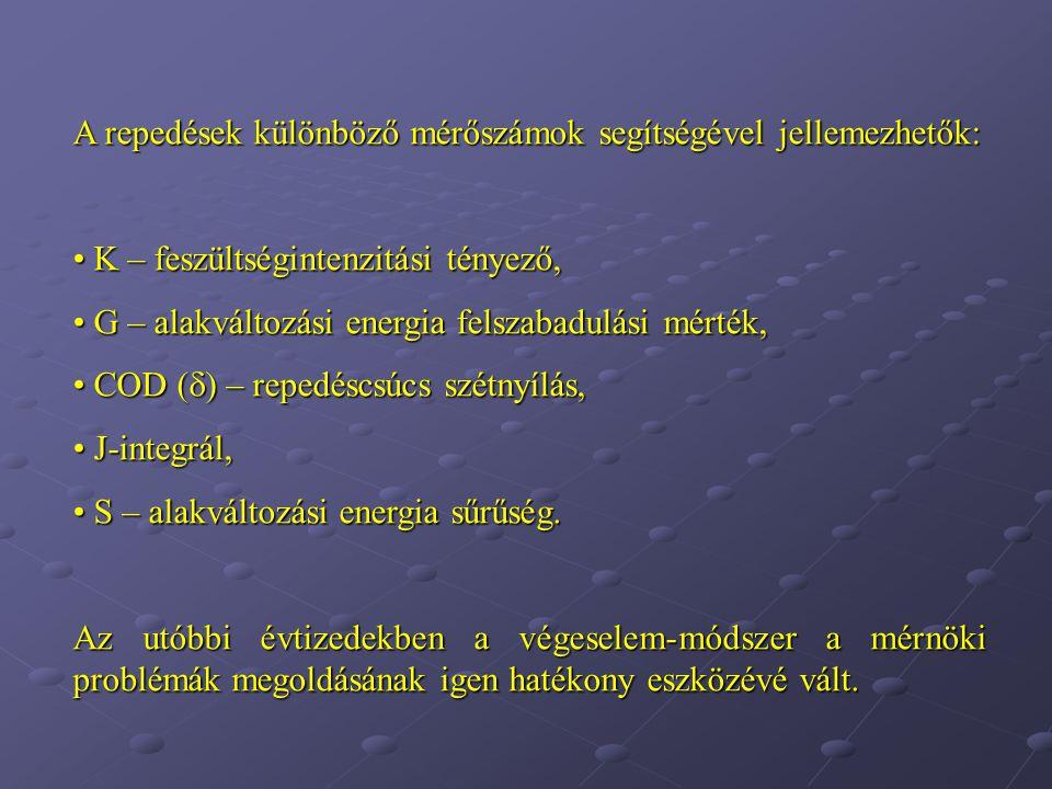 A repedések különböző mérőszámok segítségével jellemezhetők: K – feszültségintenzitási tényező, K – feszültségintenzitási tényező, G – alakváltozási energia felszabadulási mérték, G – alakváltozási energia felszabadulási mérték, COD (  ) – repedéscsúcs szétnyílás, COD (  ) – repedéscsúcs szétnyílás, J-integrál, J-integrál, S – alakváltozási energia sűrűség.