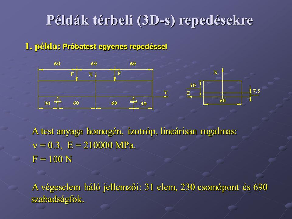 1. példa: Próbatest egyenes repedéssel A test anyaga homogén, izotróp, lineárisan rugalmas: A test anyaga homogén, izotróp, lineárisan rugalmas: = 0.3