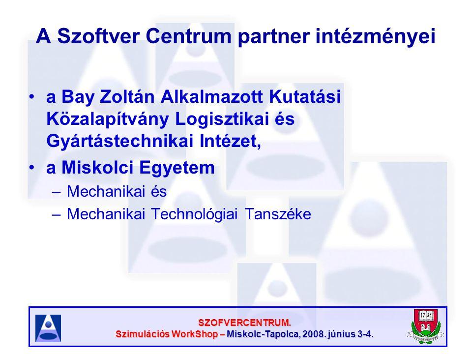 SZOFVERCENTRUM. Szimulációs WorkShop – Miskolc-Tapolca, 2008. június 3-4. A Szoftver Centrum partner intézményei a Bay Zoltán Alkalmazott Kutatási Köz