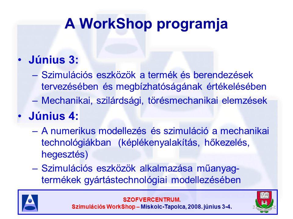 SZOFVERCENTRUM. Szimulációs WorkShop – Miskolc-Tapolca, 2008. június 3-4. A WorkShop programja Június 3: –Szimulációs eszközök a termék és berendezése