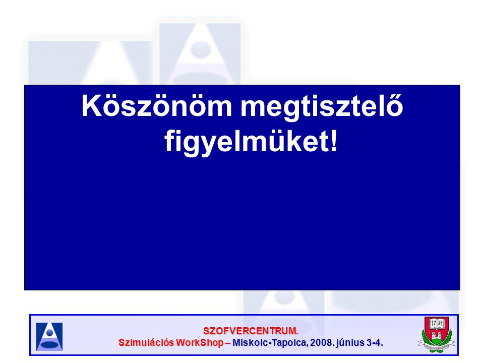 SZOFVERCENTRUM. Szimulációs WorkShop – Miskolc-Tapolca, 2008. június 3-4. Köszönöm megtisztelő figyelmüket!