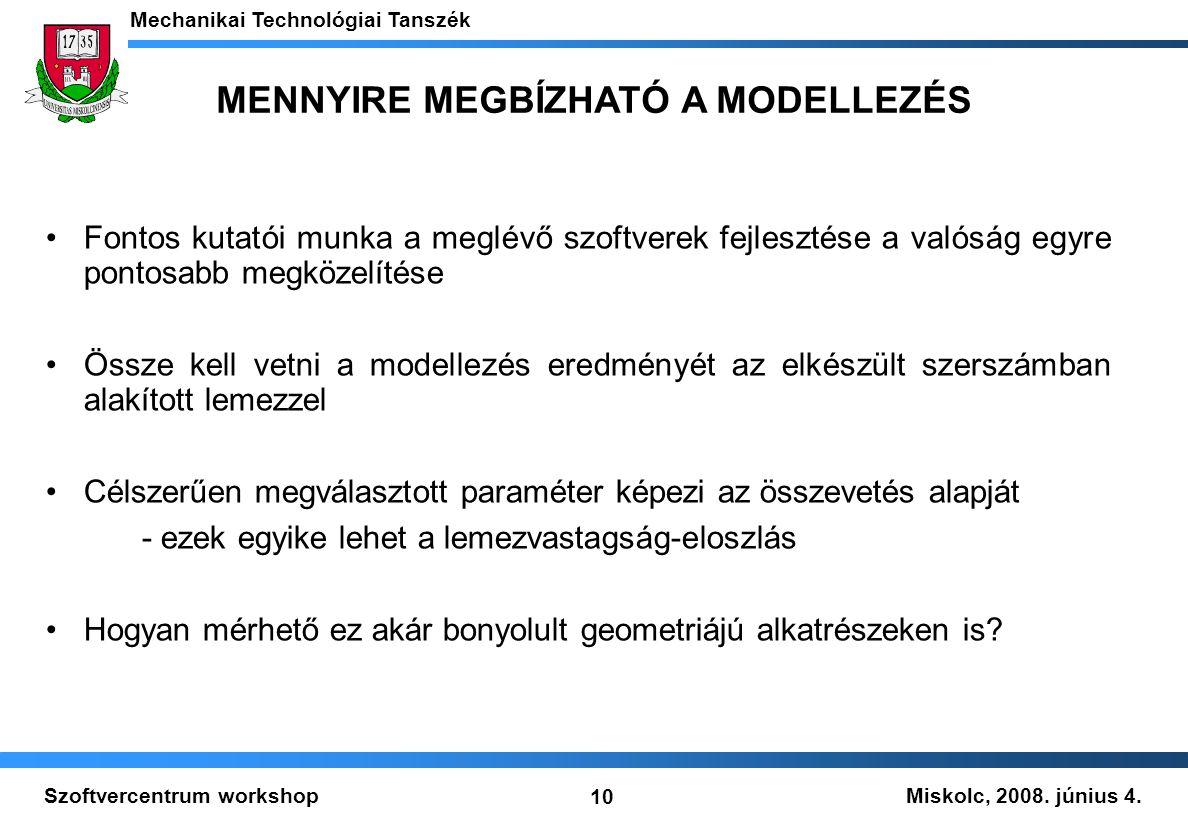 Miskolc, 2008. június 4. Mechanikai Technológiai Tanszék 10 Szoftvercentrum workshop MENNYIRE MEGBÍZHATÓ A MODELLEZÉS Fontos kutatói munka a meglévő s