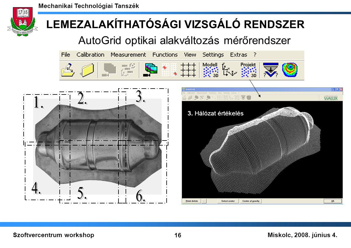 Miskolc, 2008. június 4. Mechanikai Technológiai Tanszék 16 Szoftvercentrum workshop 3. Hálózat értékelés LEMEZALAKÍTHATÓSÁGI VIZSGÁLÓ RENDSZER AutoGr