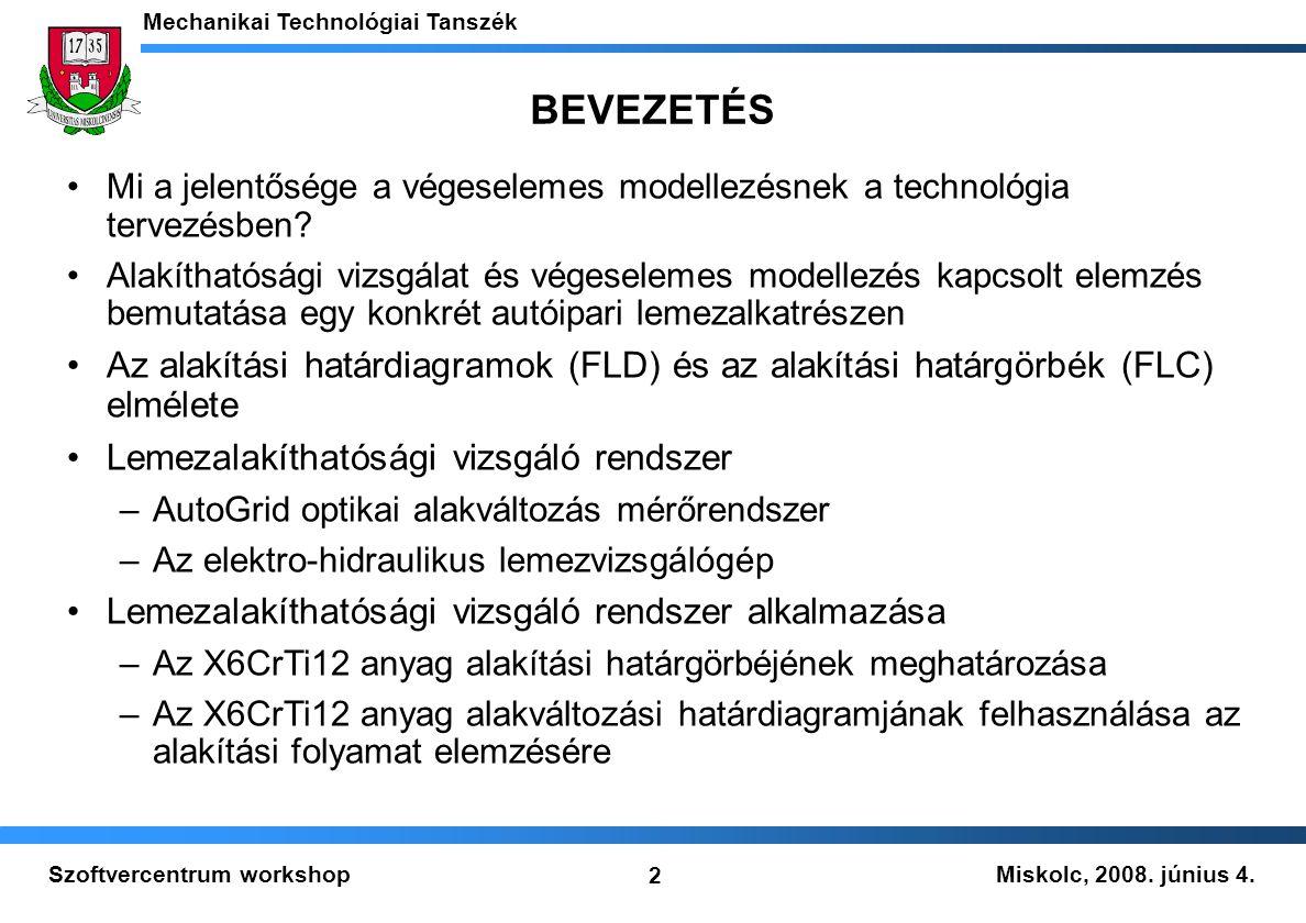 Miskolc, 2008. június 4. Mechanikai Technológiai Tanszék 2 Szoftvercentrum workshop BEVEZETÉS Mi a jelentősége a végeselemes modellezésnek a technológ